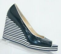 Michael Kors blue patent leather nautical peep striped platform wedges 8.5M