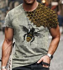 Men's T-shirt Gray Bee Honeycomb All Sizes S-5XL Fitness Slim Sports Shirt
