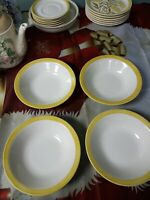 Set Of Four 7 1/4 In Yellow Ring Around The Rim Cereal Bowls stoneware
