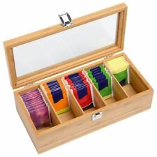 Tea Bag Organizer Storage Box Wooden Teabag Holder Bamboo Packet Container