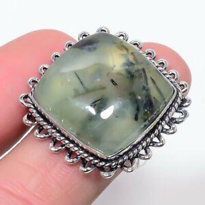 Moss Prehnite Gemstone Handmade Ethnic 925 Sterling Silver Ring Size 9