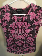 (X4) Women's International Concepts Inc Small Pink Bling Short Sleeve