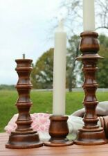 Pair Vintage Wooden Candlesticks, 8� ,Candle Holders Wood Homco Candle Sticks