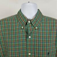 Ralph Lauren Blaire Mens Green Blue Check Plaid Dress Button Shirt Size XL