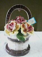 """Vintage Capodimonte Italy Porcelain Large Wishing Well Roses 12 3/4 T, 8"""" W"""