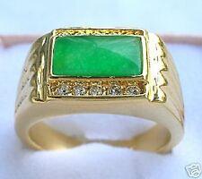 cadeau de Noël,hommes,vert jade,en cristal ,plaqué or Bague,taille 58#