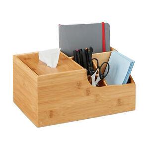 Büro Organizer, Bambus Box Tischorganizer Make-up Aufbewahrung Tuchbox Tücherbox