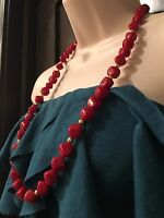 "28"" Vtg.  Necklace Glass Crimson Xmas Gift Red Gold Beads Stocking Stuffer  #383"