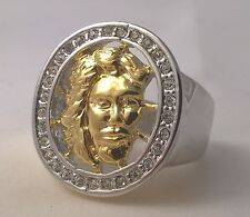 G-Filled Men's 18kt two tone gold Jesus ring simulated diamond Holy Christ face