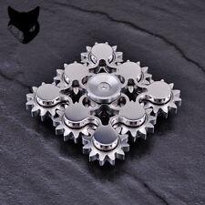 9 Gear Teeth Hand Fidget Spinner Linkage Metal Finger Gyro ADHD Focus Toy