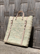 Straw Beach bag with leather strap - Straw backpack - Hipster backpack - boho ba