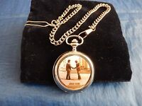 PINK FLOYD (WISH YOU WERE HERE) CHROME POCKET WATCH WITH CHAIN (NEW)