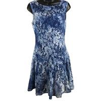 Betsey Johnson Multi-Blue Floral Lace Sleeveless Dress Women's Size 6