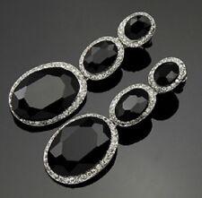 Big Black Lágrima Cristal Diamante Pendientes De Araña Stud orejas perforadas E115