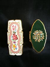 2 Vintage Stratton England Lipstick Holder w/ Mirror Dark Green & Pink Flower
