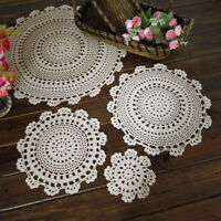 4Pcs Vintage Handmade Crochet Round Lace Placemats Dining Table Mats Pad Doilies