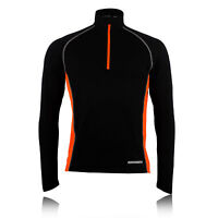 Higher State Mens Black Orange Half Zip Long Sleeve Lightweight Running Top New