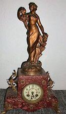Figuren Pendule Kaminuhr Parfum D´Iris Frauenfigur Jugendstil 1900