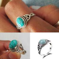 Women Vintage Men Charm 925 Silver Turquoise Wedding Engagement Ring Size 6-10