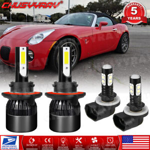 Combo For Pontiac Solstice2006 2007 2008 2009 LED Headlight Hi/Lo+Fog Light Bulb