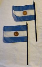 "Two 10.5"" Tall Flags for the Country of Argentina - Blue & White Bands with Sun"