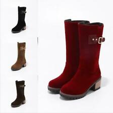 Women Suede Mid Calf Boots Block Heel Winter Snow Riding Casual Shoes Size 34-43