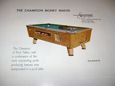 Champion Billiards Pool Table Arcade Original sales flyer brochure