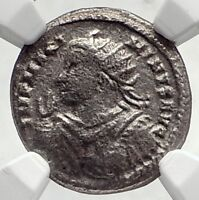 MAXIMINUS II Daia Authentic Ancient Argenteus Roman Coin SOL CHARIOT NGCi72725