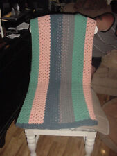 CROCHETED AFGHAN THROW HANDMADE BLUE, GRAY, PEACH & GREEN IN COLOR SZ 88 X 46