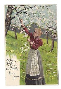 Vintage embossed greetings German postcard by Mailick. pmk Klotzsche 1903
