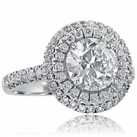 3.23 Carat Round Cut Natural Diamond Double Halo Engagement Ring 18k White Gold