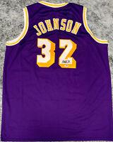 Magic Johnson Signed Purple Jersey Auto - PSA DNA COA