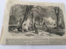 Gravure 1856 - Extraction du sucre de l'érable