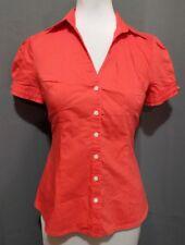 EUC Express Design Studio Short Sleeved Button Up Blouse Silver Arm Buckles XS