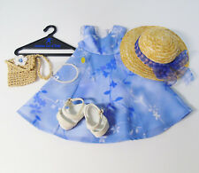 American Girl Pleasant Co. PERIWINKLE Garden DRESS OUTFIT Pearls Purse Hat Shoes