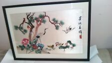 Chinese Nature Birds Scene - Silk Hand Embroidery-colorful painting 24 x 17 Inch