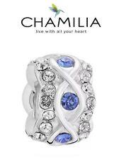 Genuine CHAMILIA 925 silver & Swarovski SAPPHIRE BLUE LUXE spacer charm bead