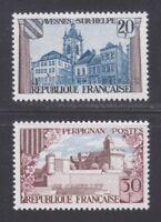 France 1959 MNH Mi 1268-1269 Sc 935-936 Avesnes-sur-Helpe & Perpignan.Castles **