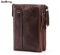 Men's Genuine Leather Cowhide Wallet Bifold Credit Card ID Holder Zipper Purse