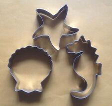 3 pcs Ocean creature sea horse starfish Shell fondant metal cookie cutter set