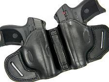 PREMIUM BLACK LEATHER DUAL 2-GUN OWB HOLSTER SMALL OF BACK SOB - S&W M&P SHIELD