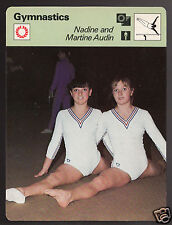 NADINE and MARTINE AUDIN French Gymnastics Olympics 1978 SPORTSCASTER CARD 18-12