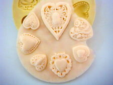 Silicone Mold fondant mould for Sugarcraft,Cupcake,Clay -Ellegance Heart Set