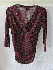Ann Taylor V-Neck 3/4 Sleeve Top-Ruching on Sides -Black/Red-Sixe XS -NWT $55