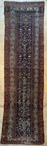 """Antique Blue and Red Geometric Runner, 3'2"""" by 10'1"""""""