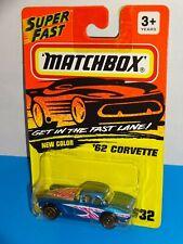Matchbox Mid 1990s #32 '62 Corvette Blue w/ Gold Wheels