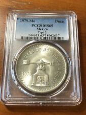 1979-Mo Silver Mexico One Onza - Type 3 Pan Pointed Towards U - PCGS MS65