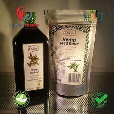 RAW Hemp seed oil cold pressed, unrefined 500 ML + HEMP SEED FLOUR 250 G.