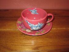 Rosie B Farmer Cup & Saucer Songbird Garden Collection Raspberry Bird Floral