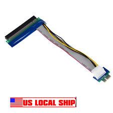 PCI-E Express 1x To 16x Riser Card Ribbon Extender Extension Cable Molex Power